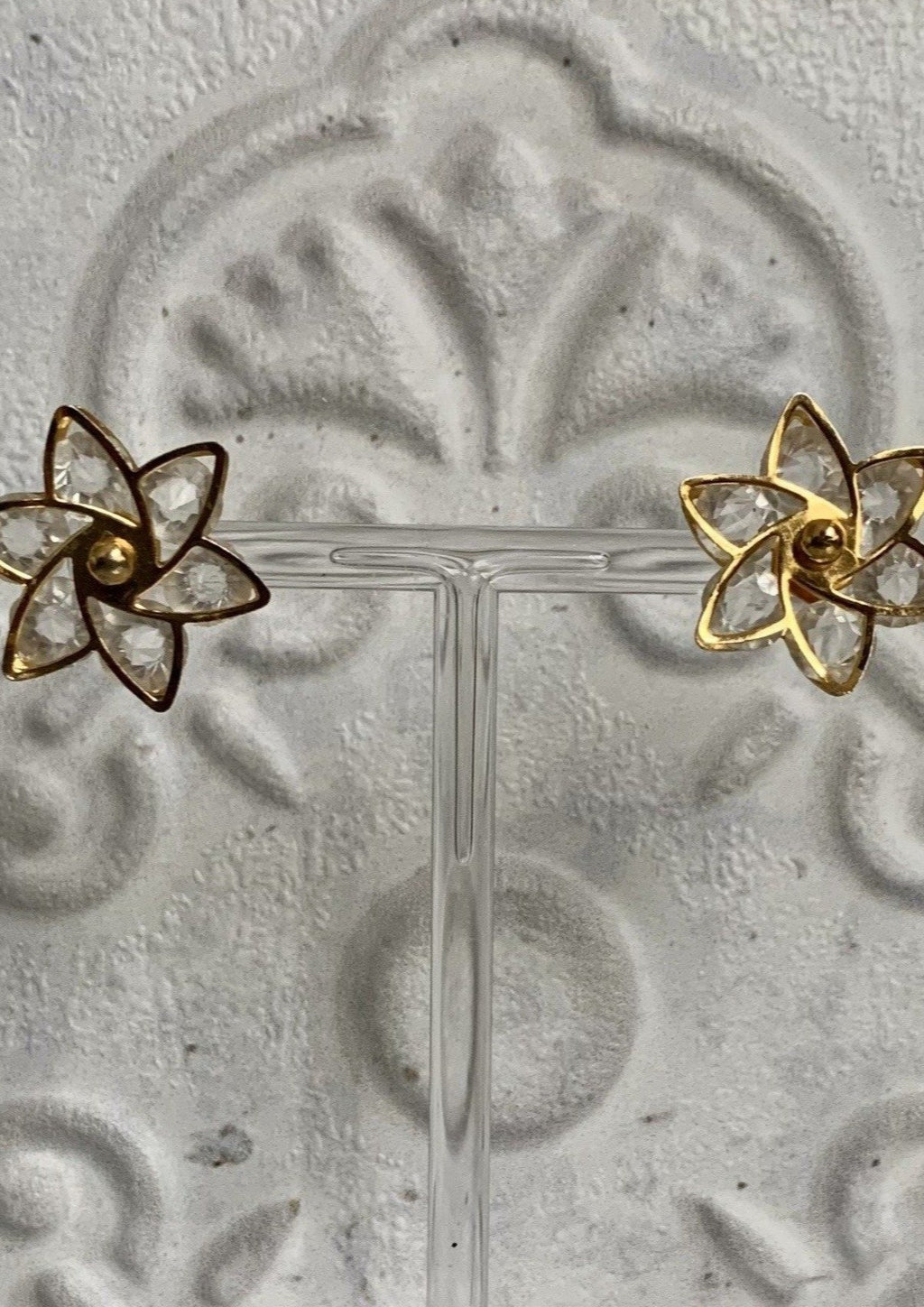 Gold and Crystal Like Flower Stud
