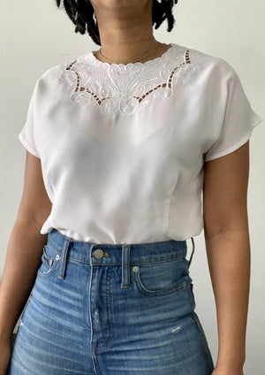 Vintage White Neck Embroidered Top