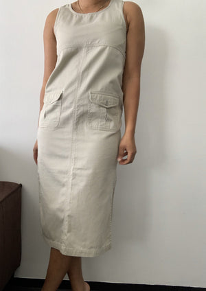 Vintage Khaki Side Button Dress