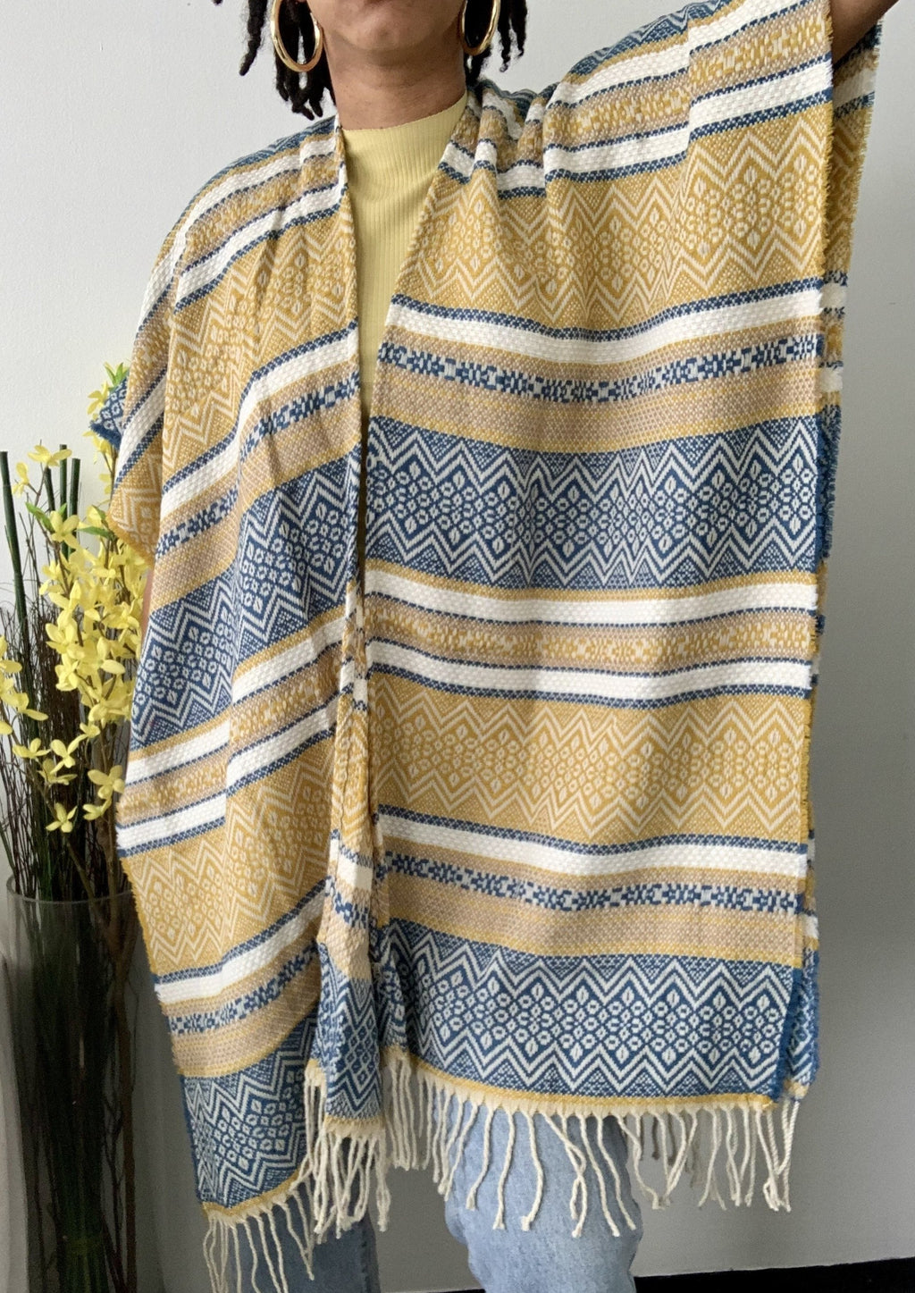 Yellow Stripe Serape Fringe Wrap
