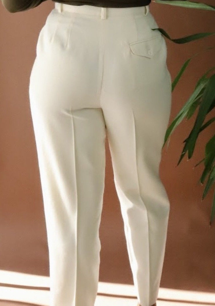Vintage Cream Wool Trousers