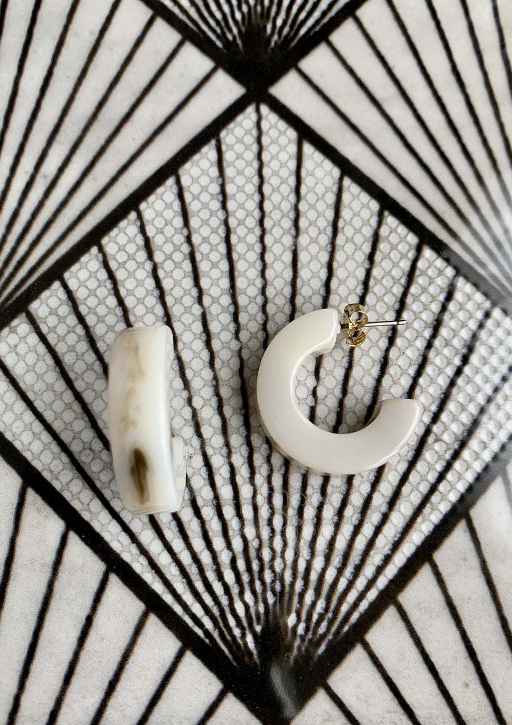 Ivory Small Acrylic Thick Hoops