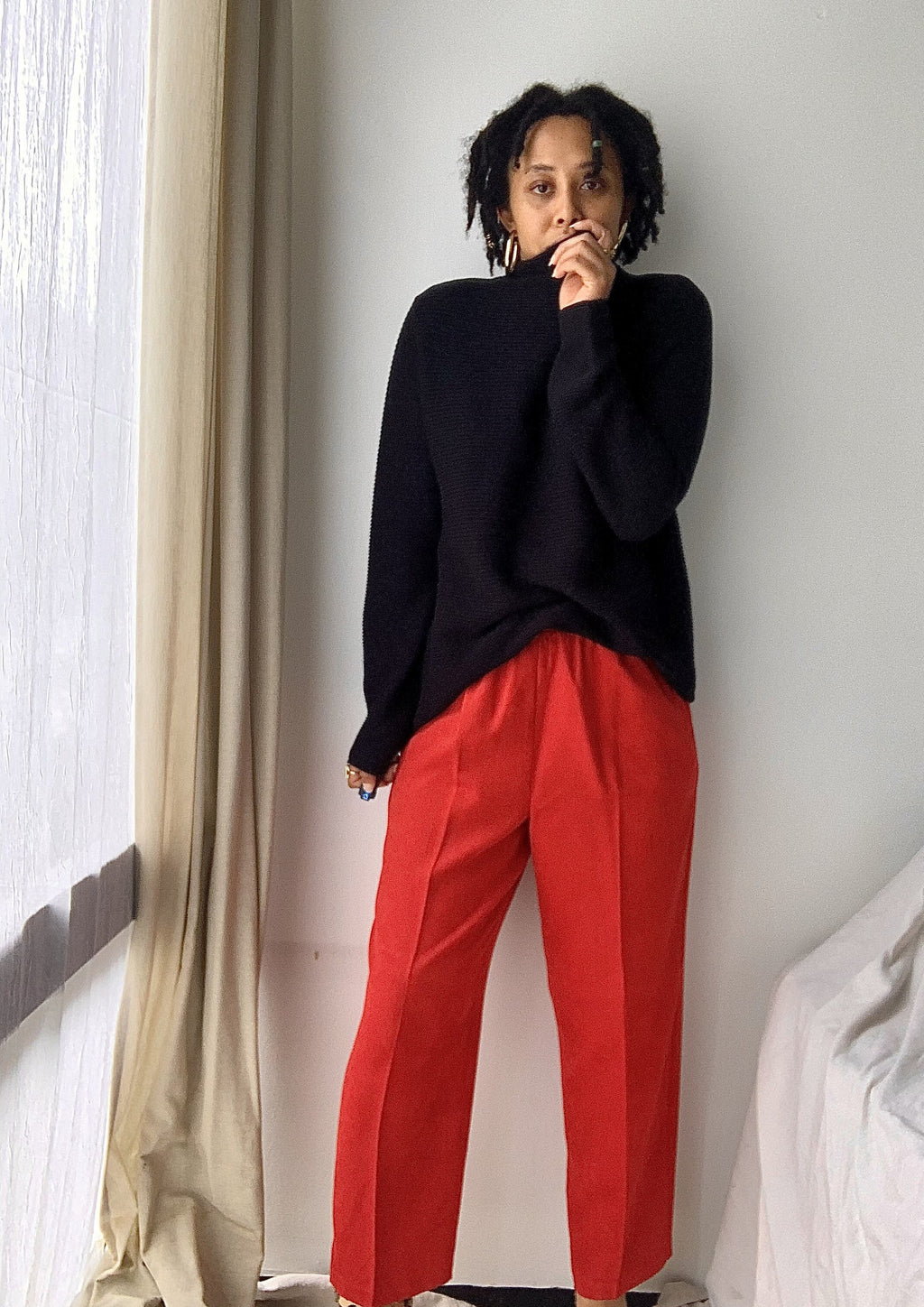 Vintage Red Faux Suede Pants