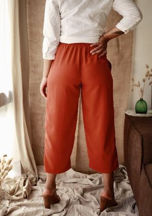 Vintage Burnt Orange Crinkled Pants