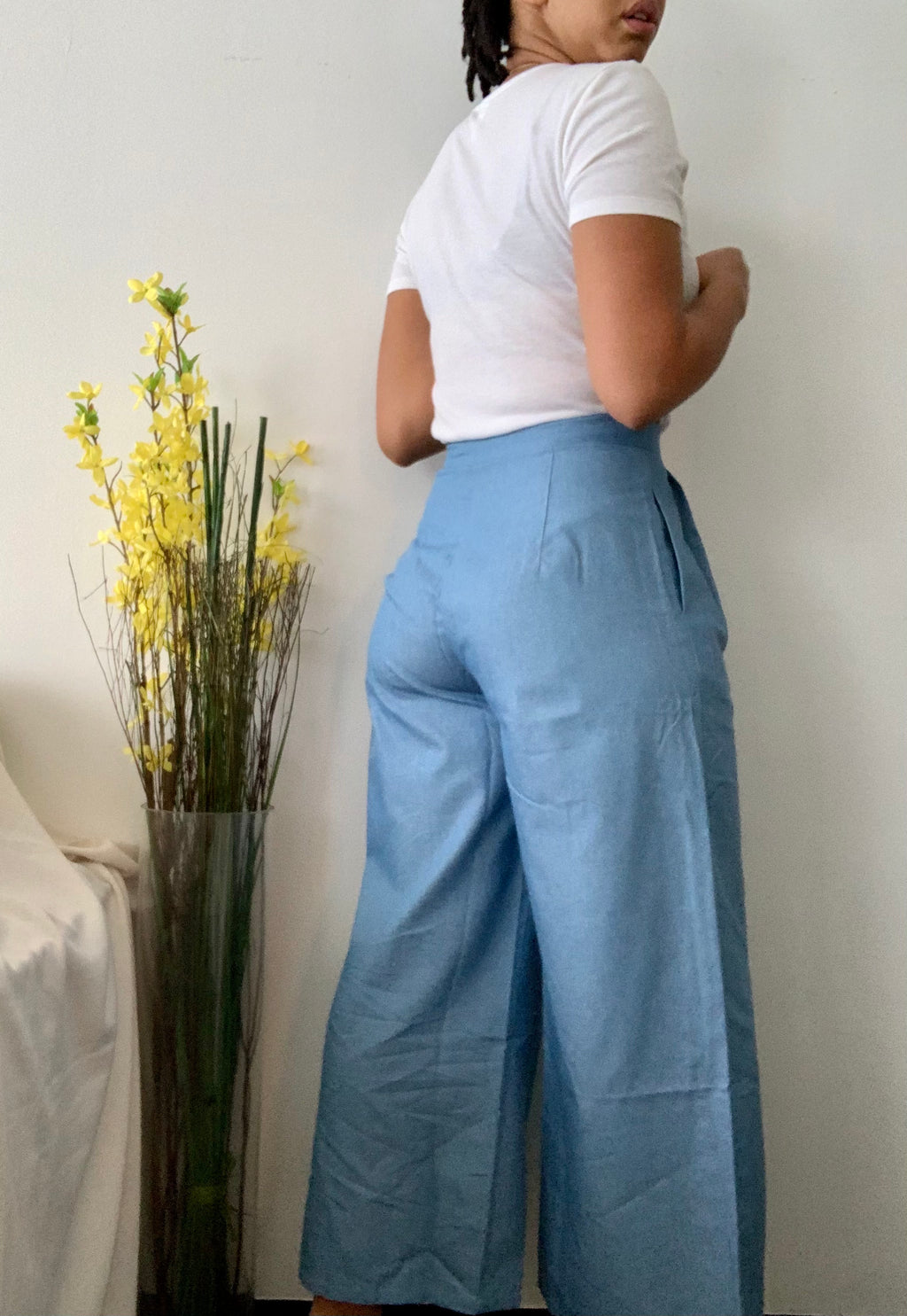 Chambray Cropped Wide Leg Pants