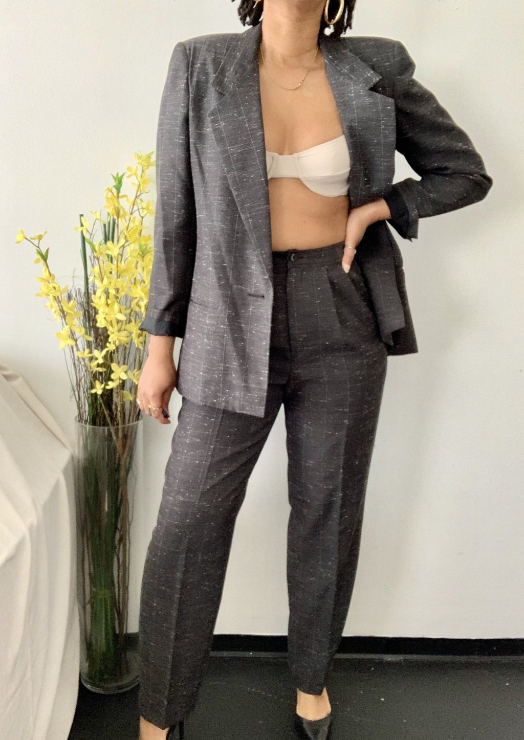 Vintage Black Speckled Blazer + Pant Set