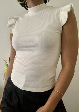 White Ribbed Ruffled Cap Sleeveless Top