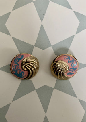 Vintage Coral and Turquoise Swirl Post Earrings