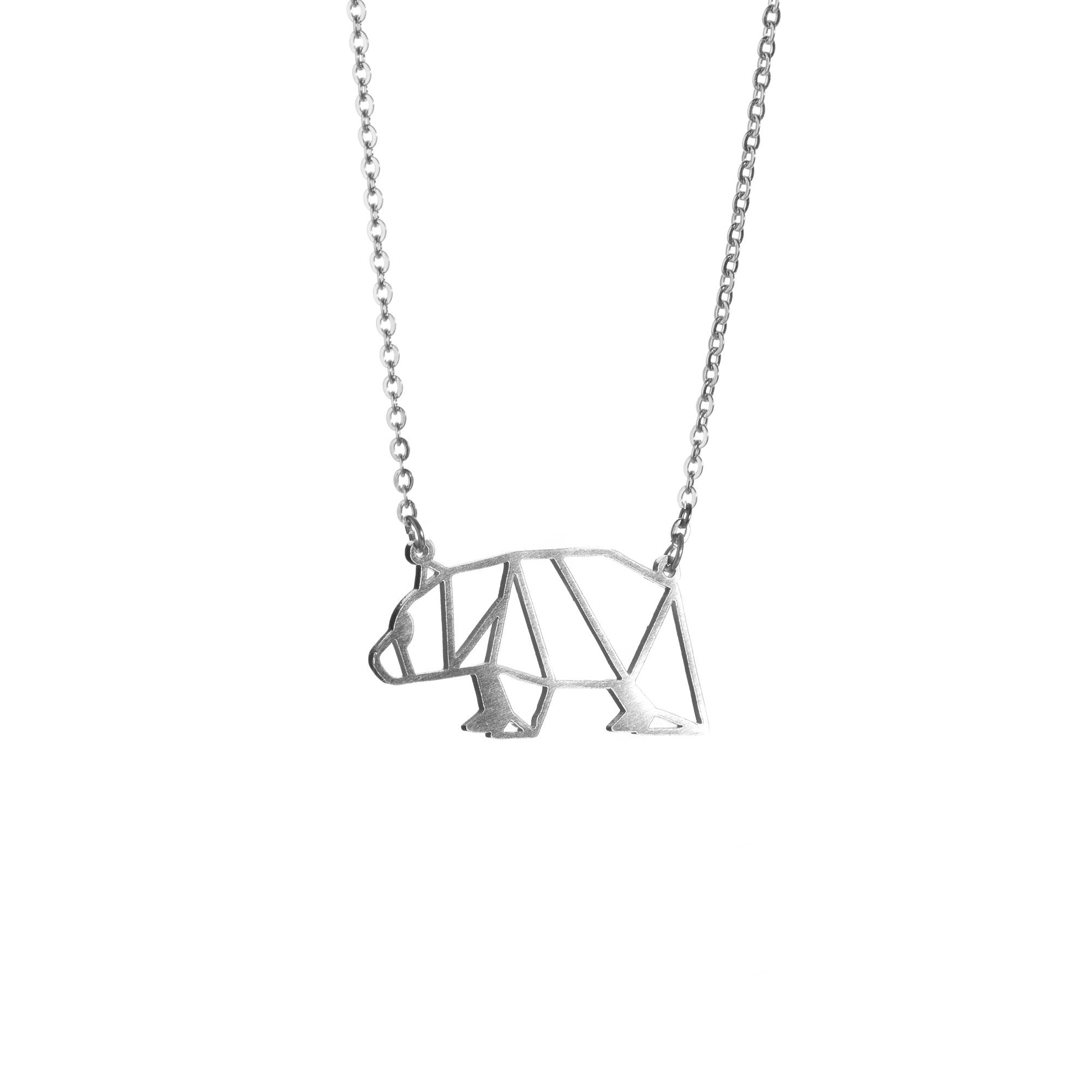 Bear Silver Origami Geometric Necklace
