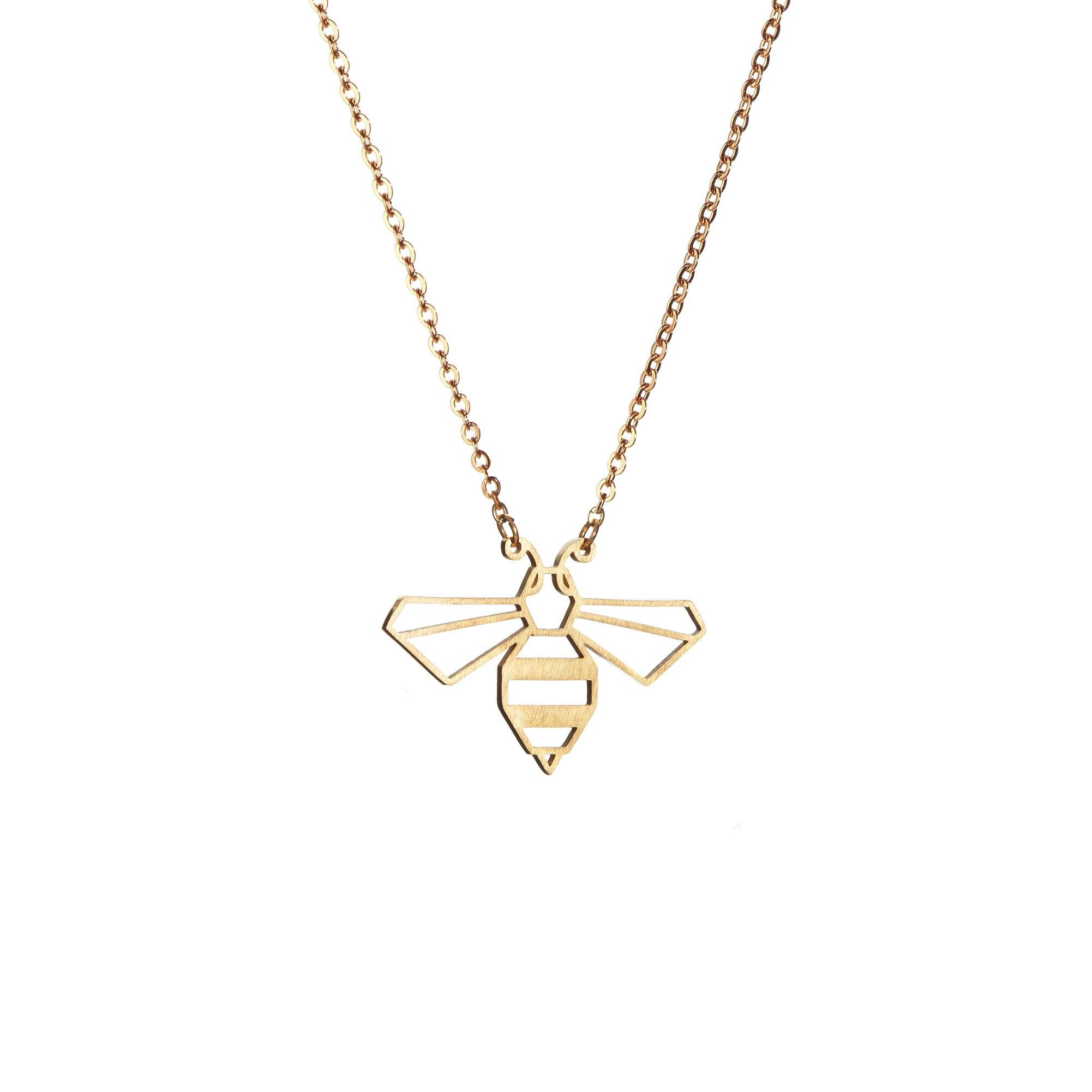 Origami Animal Necklace Bee Gold