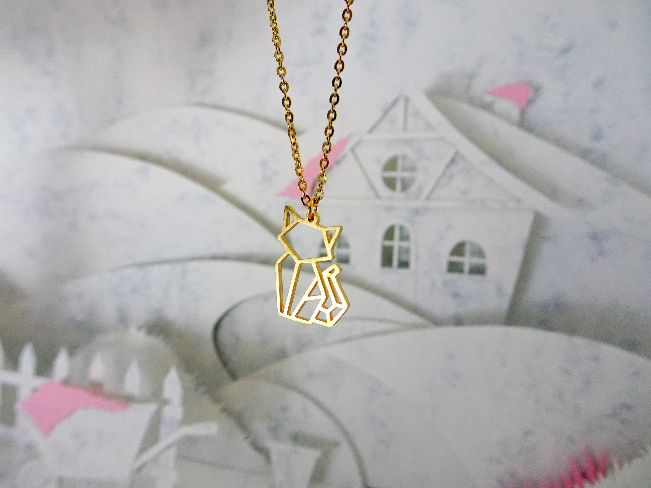 Cat Gold Origami Geometric Necklace