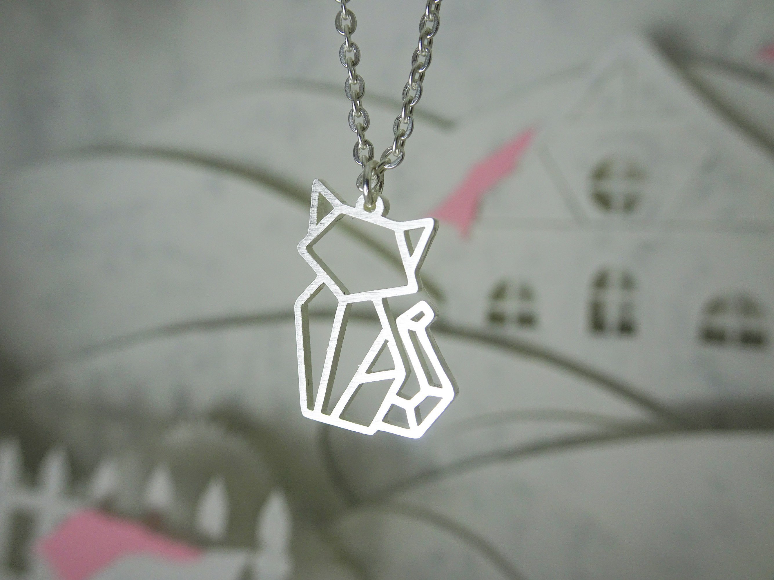 Cat Silver Origami Geometric Necklace