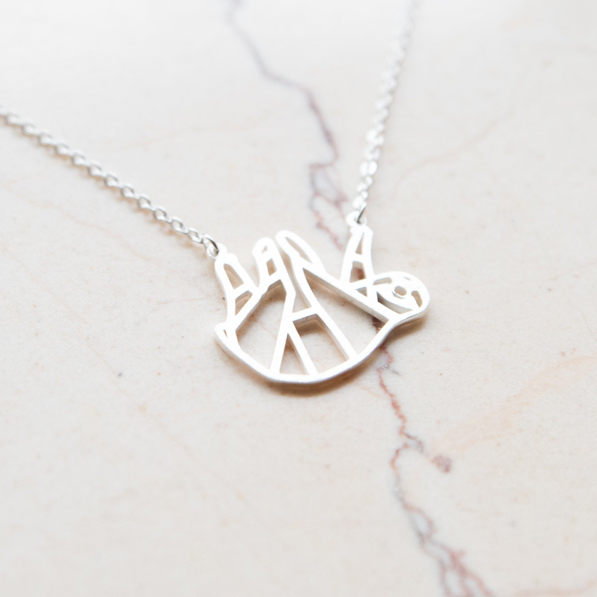 Sloth Silver Origami Geometric Necklace