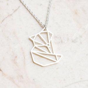 Fox Silver Origami Geometric Necklace
