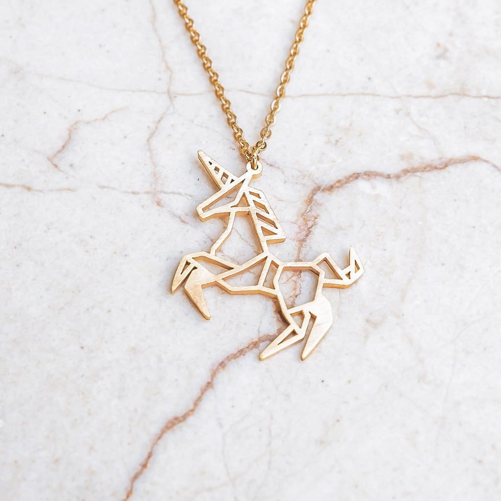Unicorn Gold Origami Geometric Necklace