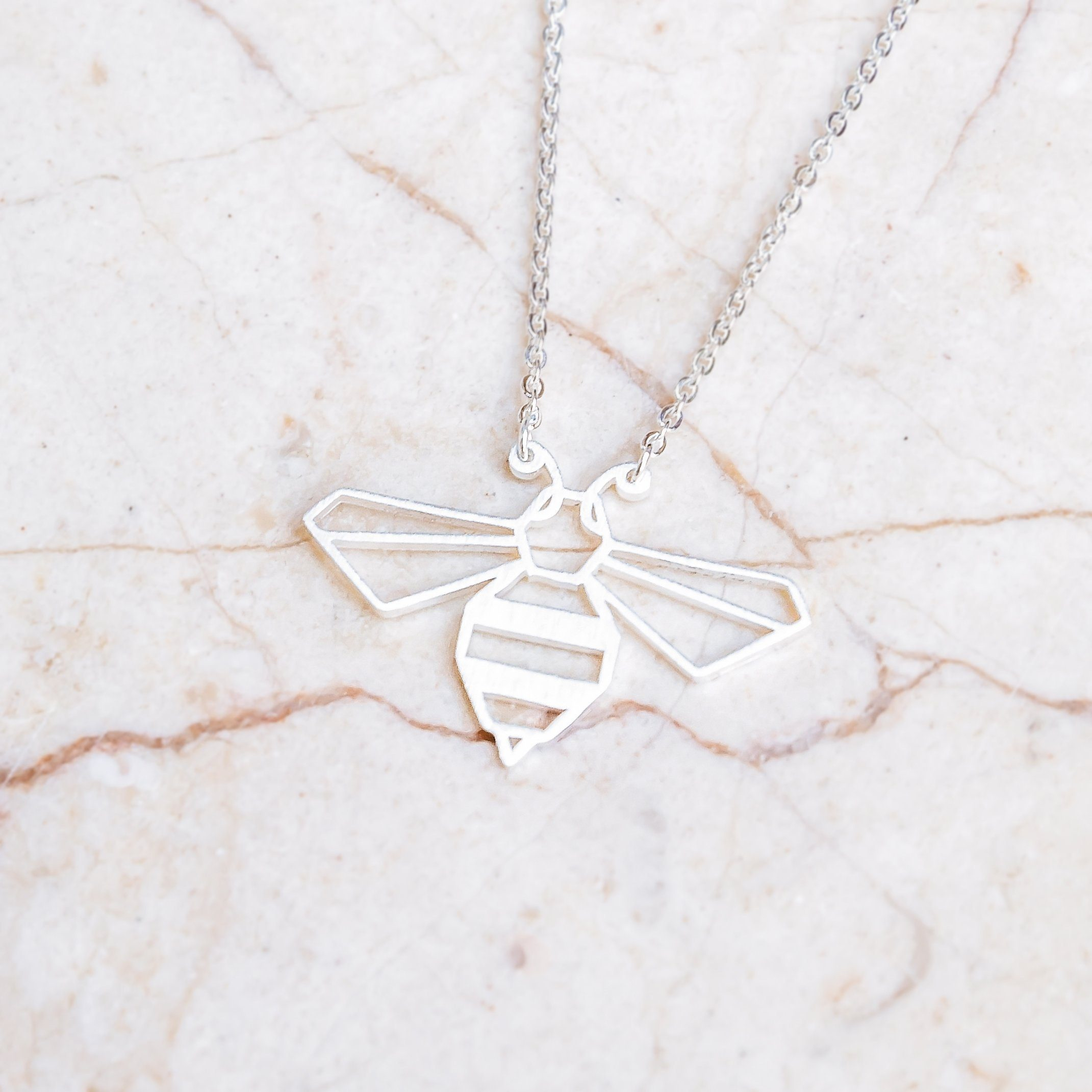 Bee Silver Origami Geometric Necklace