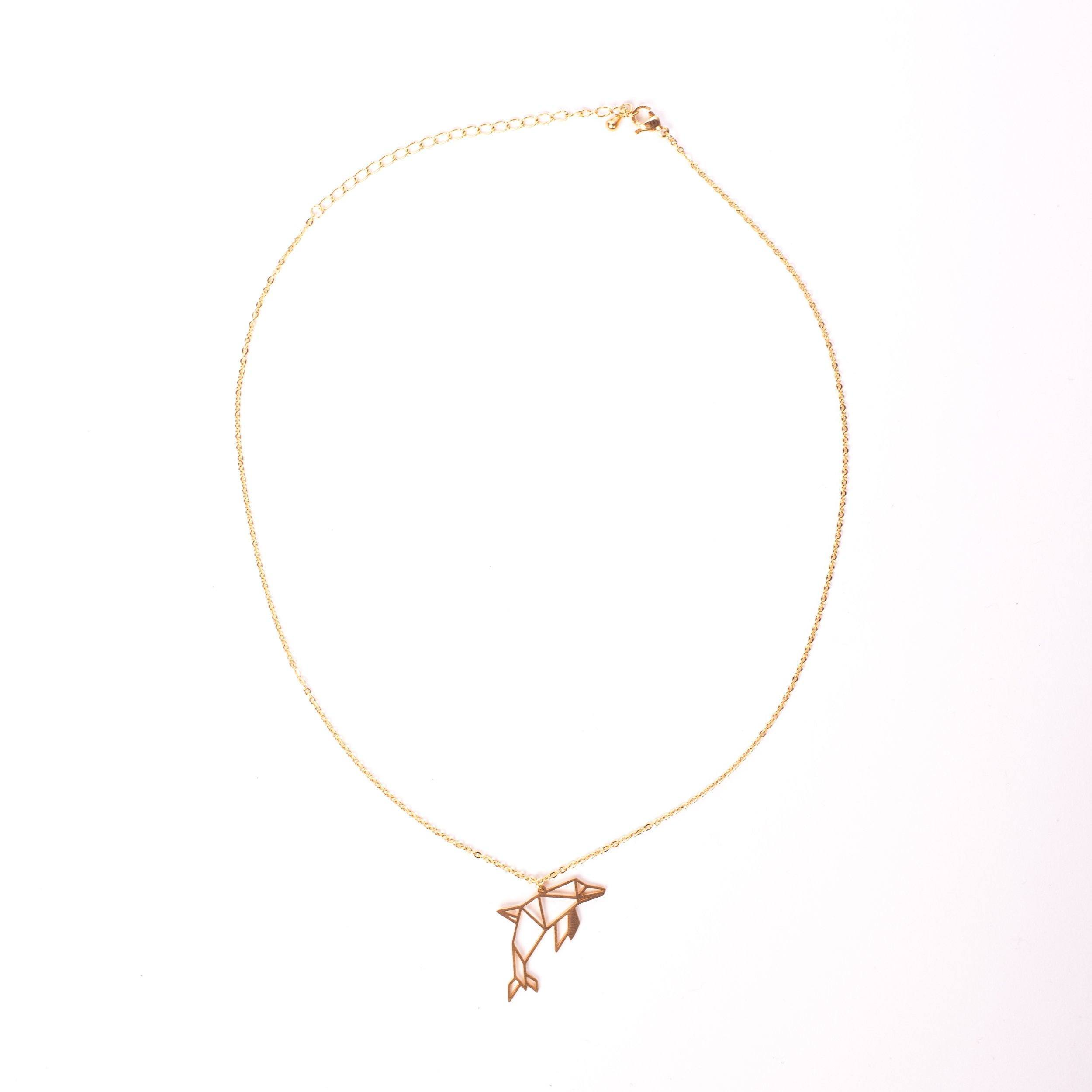 Dolphin Gold Origami Geometric Necklace