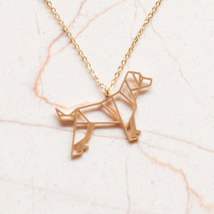 Dog Gold Origami Geometric Necklace