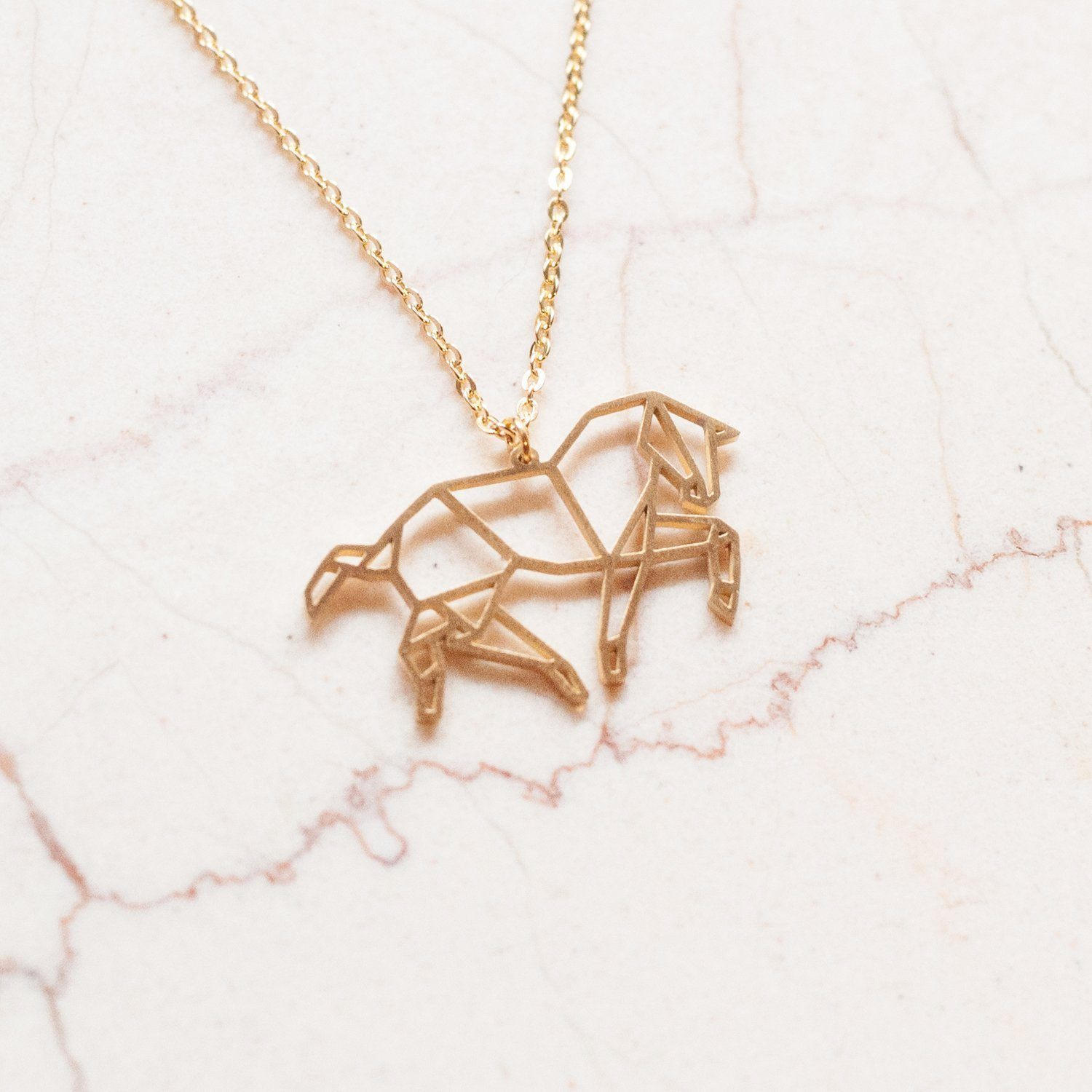Horse Gold Origami Geometric Necklace