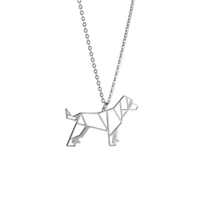 Dog Silver Origami Geometric Necklace