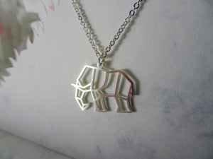 Elephant Silver Origami Geometric Necklace