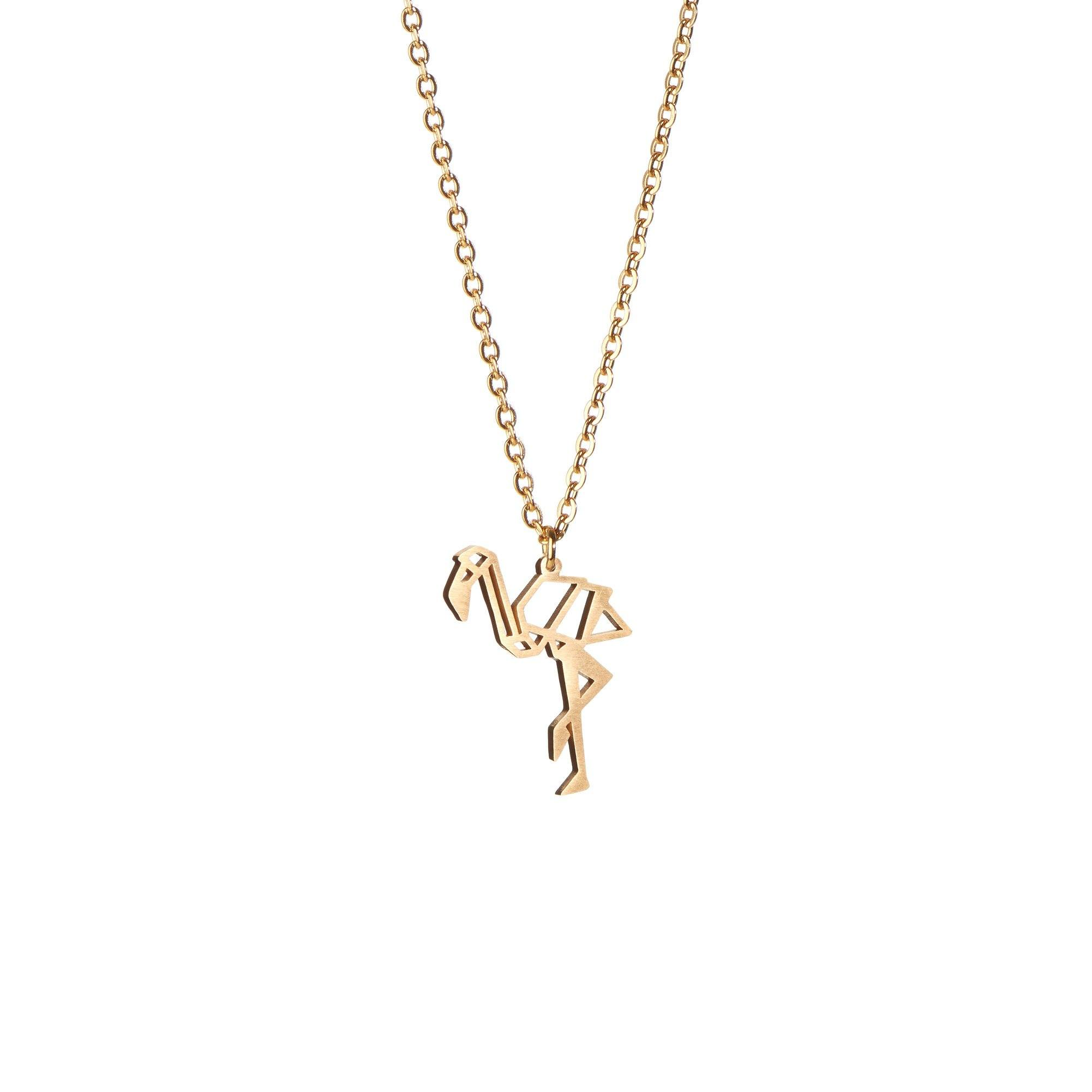 Flamingo Gold Origami Geometric Necklace