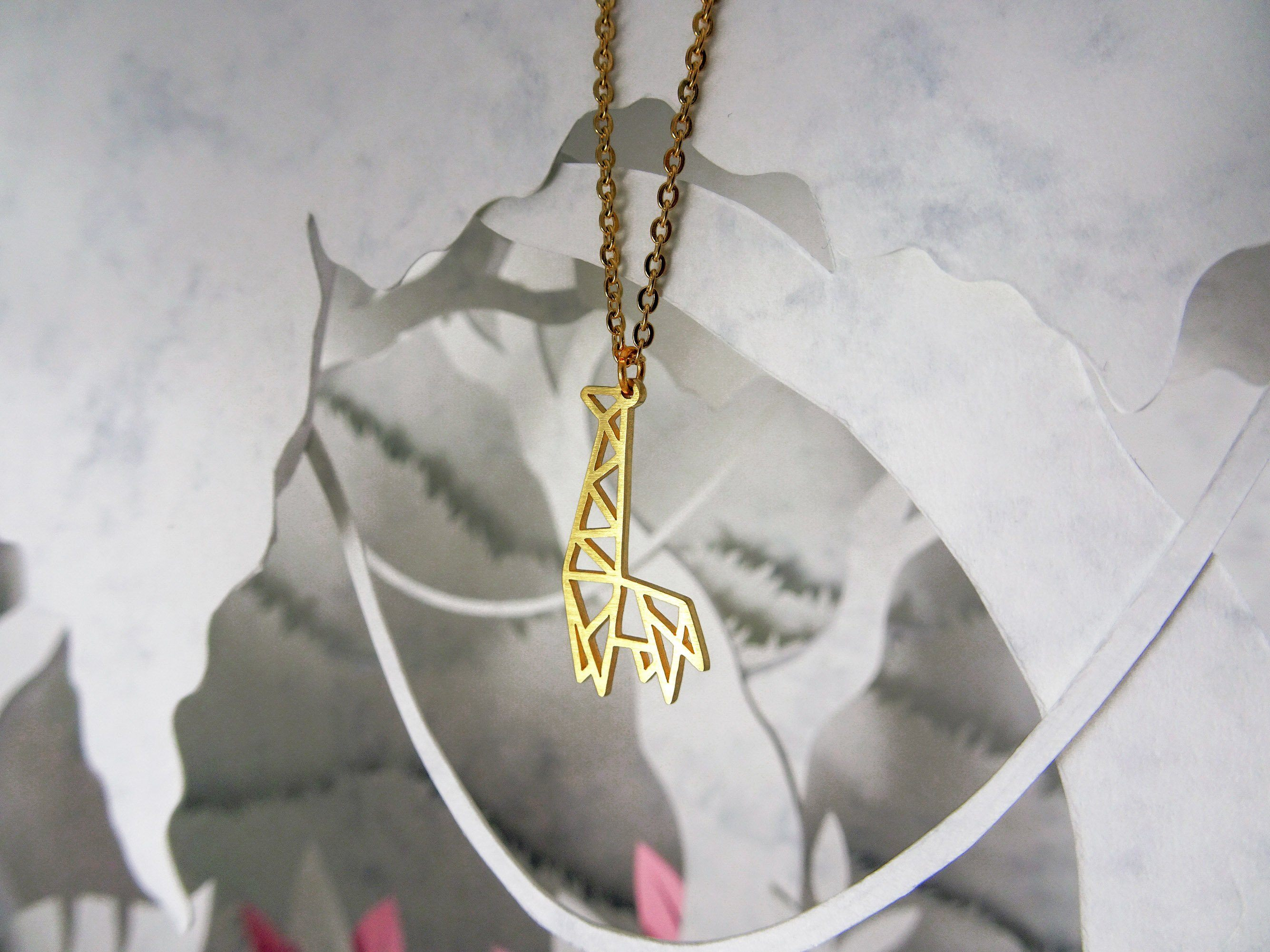 Giraffe Gold Origami Geometric Necklace