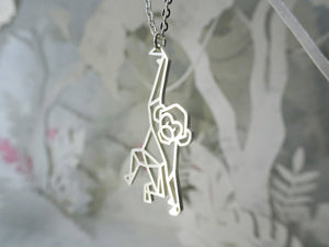 Monkey Silver Origami Animal Necklace