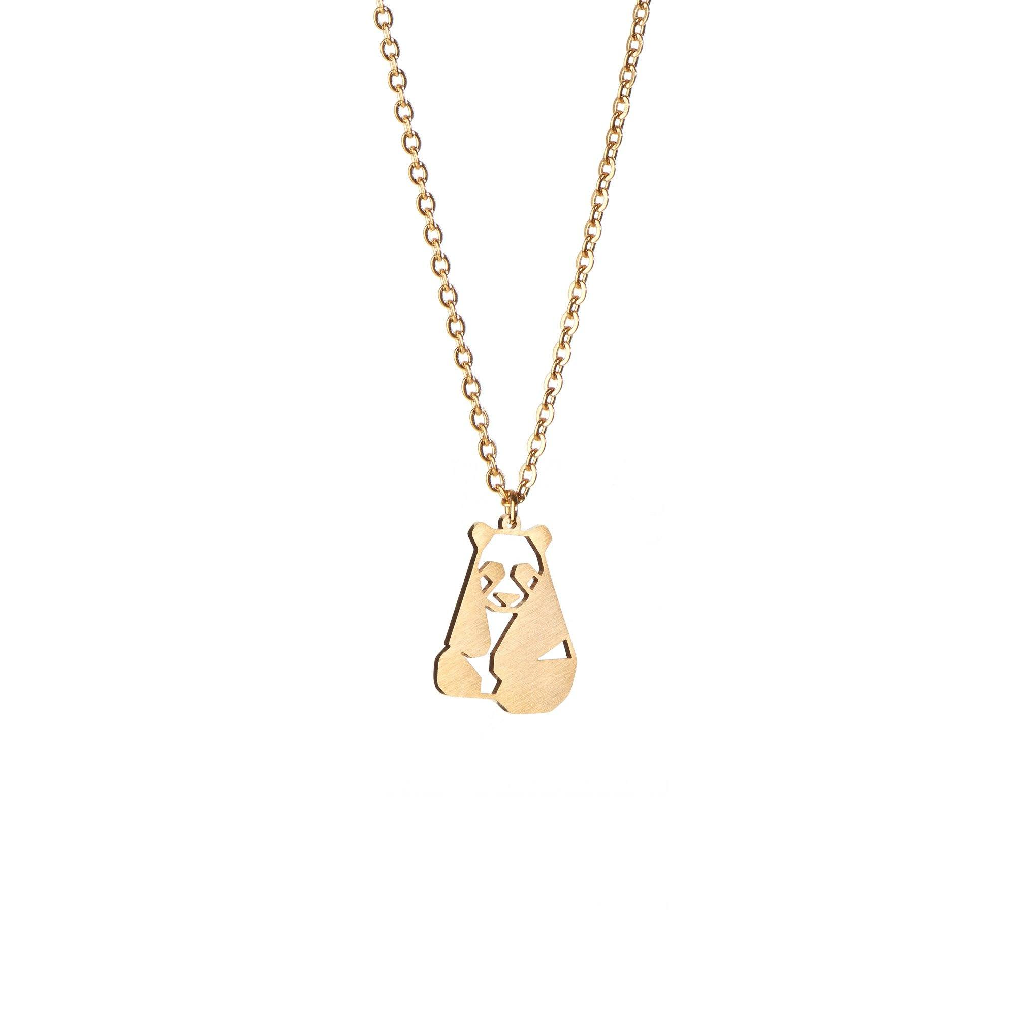 Panda Gold Origami Geometric Necklace