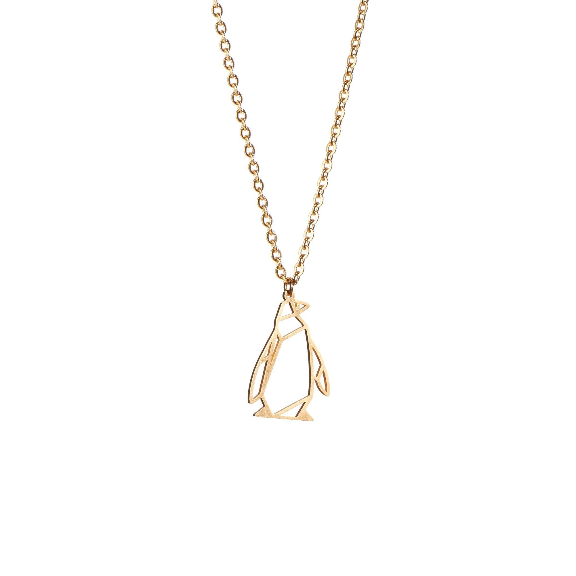 Penguin Gold Origami Geometric Necklace