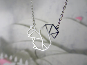 Squirrel Silver Origami Necklace