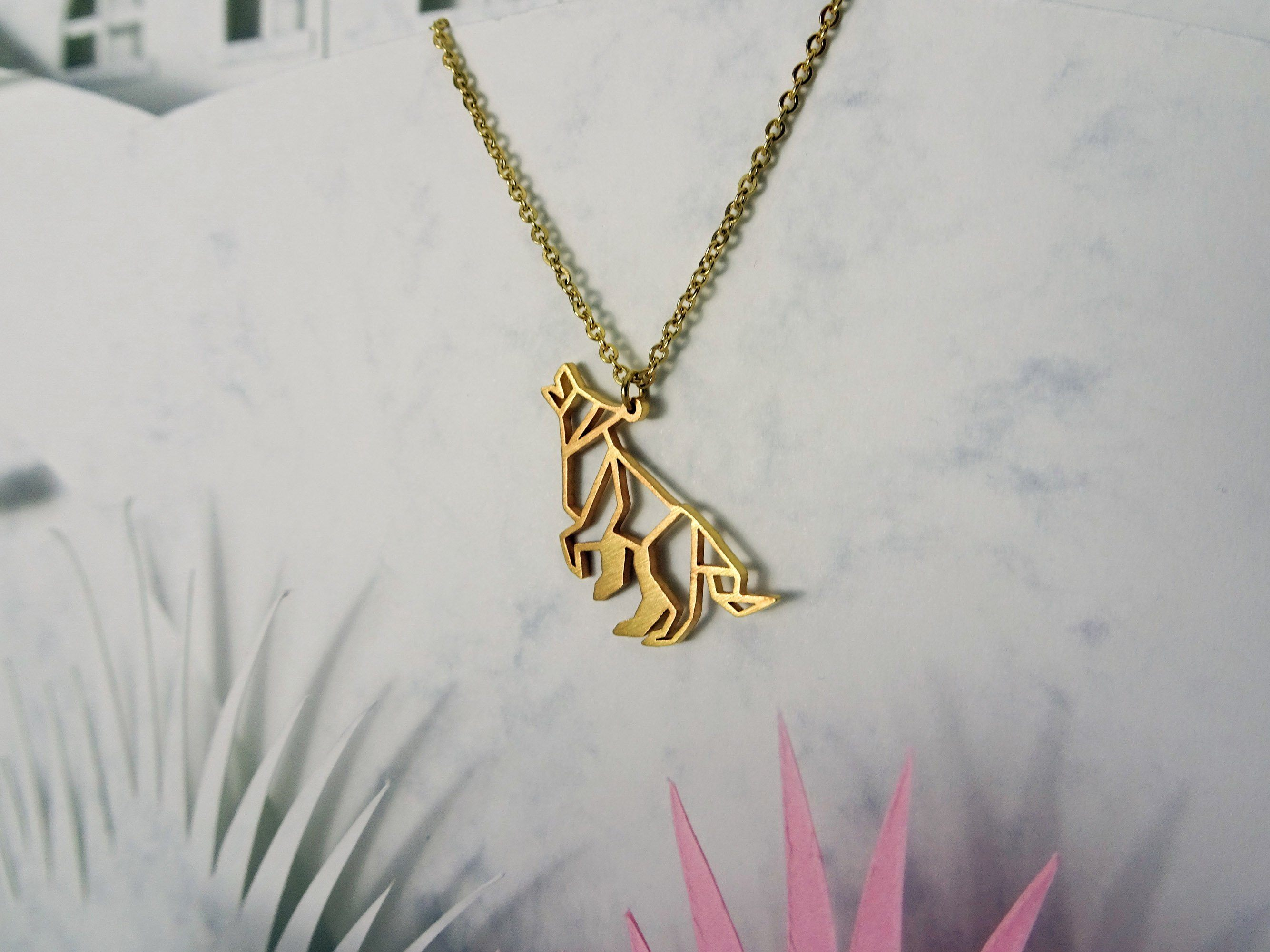 Wolf Gold Origami Geometric Necklace