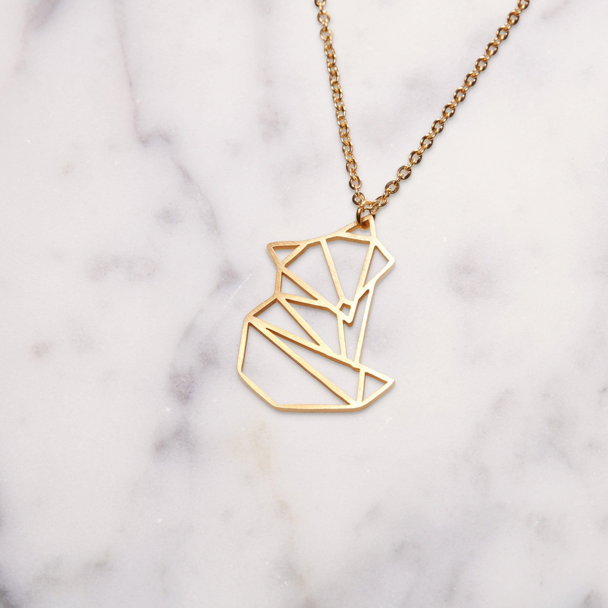 Fox Gold Origami Geometric Necklace