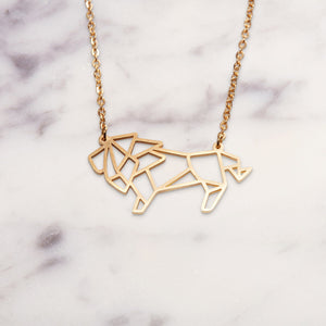 Lion Gold Origami Geometric Necklace