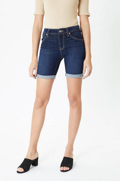 Burn Bright Mid Rise Shorts in Dark Wash