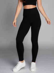 Bamboo Rib High Waisted Legging Black