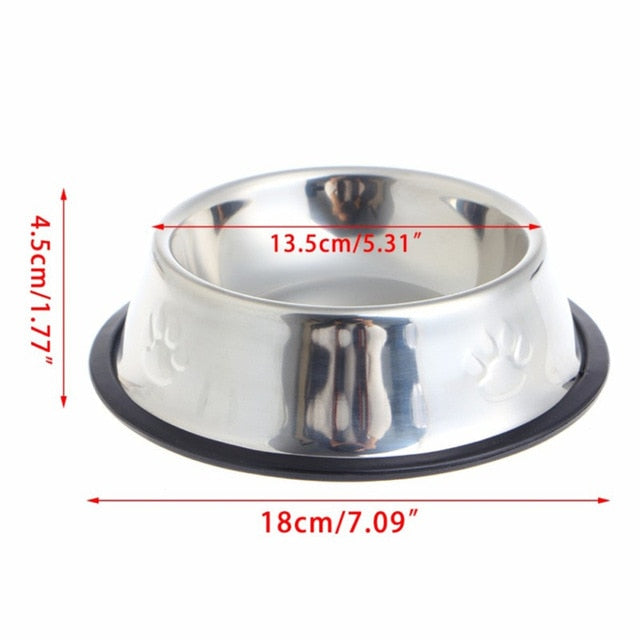New Dog Cat Bowls Stainless Steel Travel Footprint Feeding Feeder Water Bowl For Pet Dog Cats Puppy Outdoor Food Dish 3 Sizes