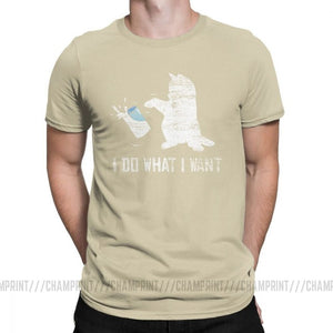 I Do What I Want Cat T Shirts Men's Pure Cotton Creative T-Shirts Claw Lover Kitten Love Animal Pet Tee Shirt Short Sleeve 6XL