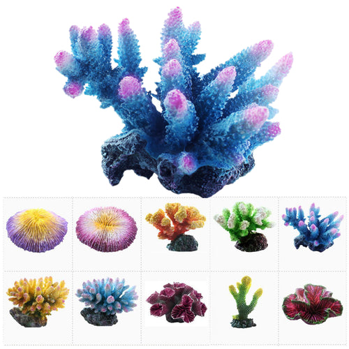 Aquarium Coral Ornament Fish Tank Artificial Coral Reef Decoration Acuario Flower Plant Rock Decor Decorative Marbles Background