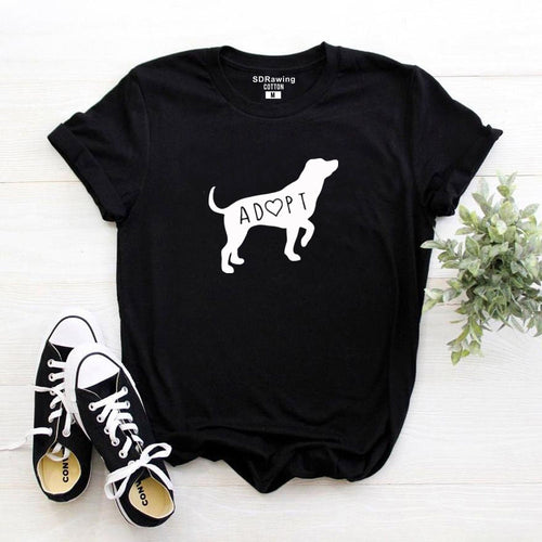 Dog Adoption T Shirt Tee Womens Ladies Doggy Lady Guy Puppy Funny Humor Gift Present I love Dogs Pet Adoption Rescu
