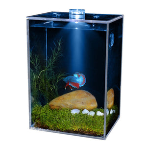 Small ultra-transparent clear fish bowls square LED fish tank aquarium LED heater with landscaping imitation water plant
