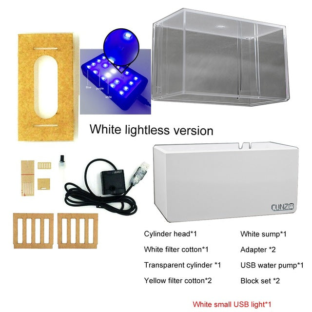 LED Lihgt Aquarium Mini Fish Tank with Blue Desktop Betta Fish Bowl Aquario Fish Tanks with Water Filtration LED Quiet Air Pump