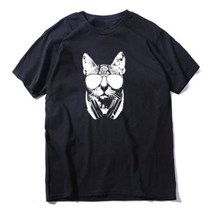 COOLMIND top quality 100% cotton lovely cat print men T shirt casual loose men tshirt o-neck knitted t-shirt male men tee shirt