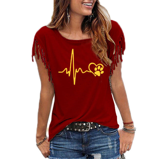 Fashion Heartbeat Lifeline And Paw Cat Dog Heart love print Women tshirt Cotton Summer Casual  t shirt