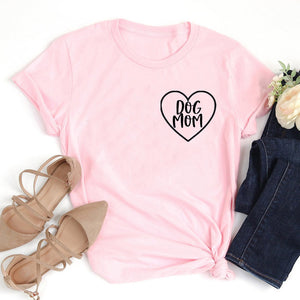 Dog Mom Pocket Letter Print T-shirt Lovely Heart Mother Life Tshirt Women Cotton Aesthetic Shirts Girl Casual Tops Drop Shipping