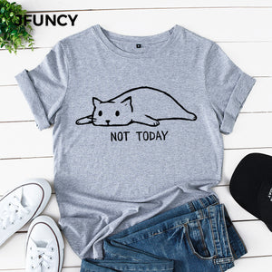 JFUNCY Lovely Cat Printing Multi Colors Plus Size Women Tshirts Female Cotton T-shirts Short Sleeve Young Lady Tees Tops
