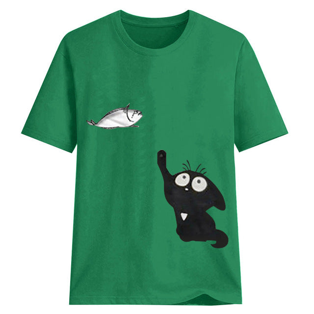 Cat Catching Fish Lovely Women Cotton T Shirts Harajuku Cotton Graphic Tees Chemise Femme