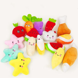 1pc Sounding Puppy Dog Chew Toy Fruit Vegetable Chicken Drum Bone Squeak Toy for Cat Pets Plush Red Pepper Eggplant Radish
