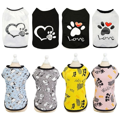 Vest Small Pet Shirt Cat Dog Clothes Paw Print Heart Love Design Cotton Dogs T Shirt Pet Puppy Summer Apparel Clothes Dog Coat