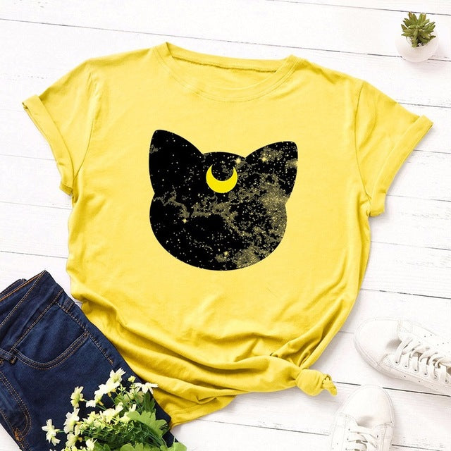 Summer Women T Shirt S-5XL Plus Size Cotton Lovely Moon Cat Print Short Sleeve Lady Tees Tops Casual Loose O-Neck Female TShirt